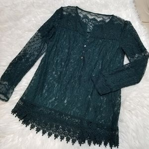 Zara Emerald Green Floral Lace Blouse Large